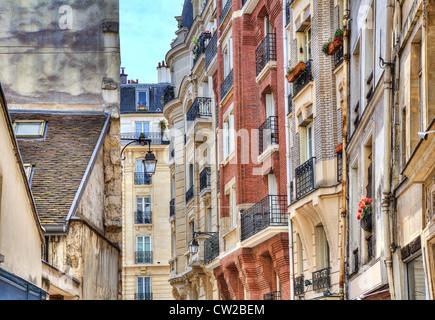Traditional parisian residential buildings. Paris, France. - Stock Photo