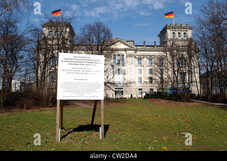 Sign for Roma and Sinti planned memorial for - Stock Photo