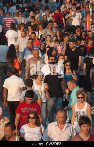 ISTANBUL, TURKEY. A colourful, crowded scene at Eminonu ferry terminal. 2012. - Stock Photo