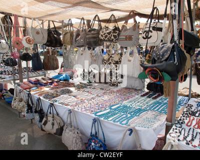 Market stalls Baku Water Park Corralejo La Oliva Fuerteventura Canary Islands Spain - Stock Photo