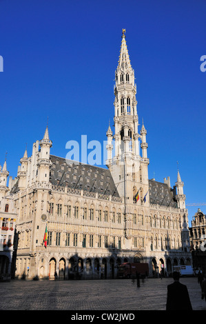 Brussels, Belgium. Grand Place. Hotel de Ville / Stadhuis / Town Hall - Stock Photo