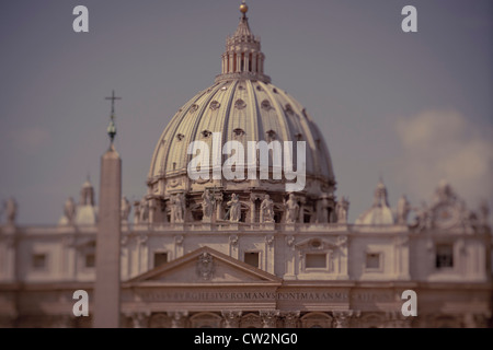 Exterior dome of St. Peter's Basilica, Vatican City, Rome, Italy - Stock Photo