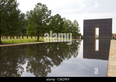 Reflecting Pool, Oklahoma National Memorial & Museum, Oklahoma City, OK, USA. - Stock Photo