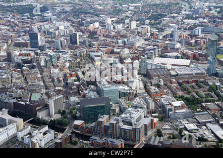 aerial view of Manchester city centre from the North - Stock Photo