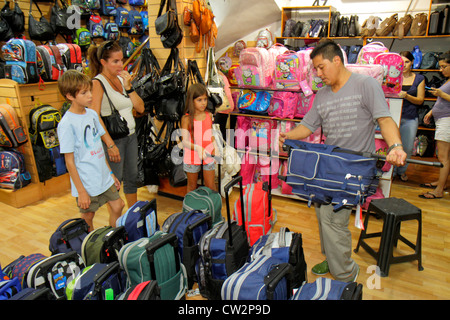 Mendoza Argentina Avenida San Martin luggage store business backpack rolling luggage suitcase shopping Hispanic - Stock Photo
