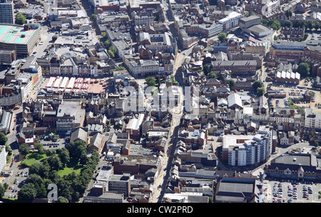 aerial view of Northampton town centre - Stock Photo