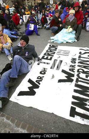 Large anti war rally leading up to the Iraq war in Washington DC on Jan. 19, 2003. - Stock Photo