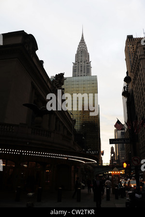 Dawn portrait, to Chrysler Building, white bulbs marquee Grand Central Terminal, East 42nd Street at Vanderbilt - Stock Photo