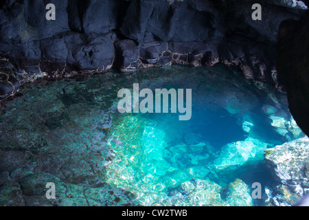 Inside view of cave in rising sal santa maria cape verde - Stock Photo