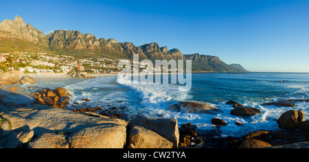 Panoramic view of Camps Bay beach with the view of the Twelve Apostles mountain range.Cape Town.South Africa - Stock Photo