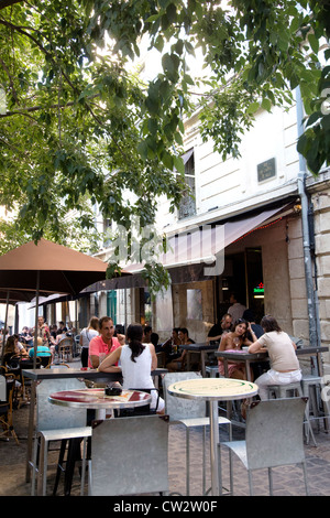 Outdoor cafe in city of Montpellier Herault Languedoc Roussillon South of France - Stock Photo