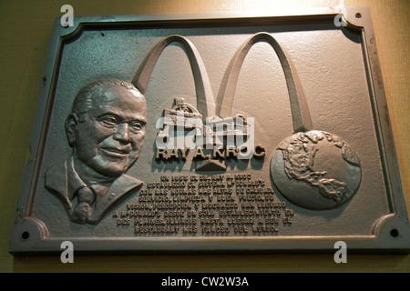 Mendoza Argentina Avenida San Martin McDonald's fast food restaurant business global company commemorative plaque - Stock Photo