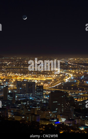 Cape Town city centre with a crescent moon. Cape Town.South Africa - Stock Photo