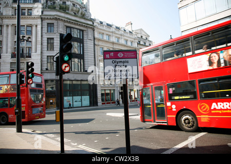 London, UK - July 26, 2012: Olympic Route Network sign in Westminster. The Network operate from the 25th July to - Stock Photo