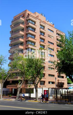 Mendoza Argentina Avenida Emilio Civit street scene high rise building apartments multi-family housing balcony bus - Stock Photo