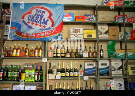 Mendoza Argentina Paso de los Andes business general grocery store liquor wine shelf bottles alcohol beverages - Stock Photo