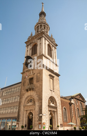 Saint Mary Le Bow Church, on corner of Bow Churchyard and Cheapside, London, England - Stock Photo