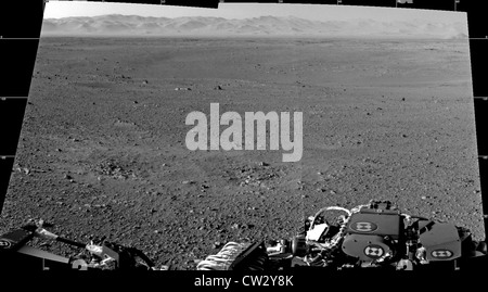Mars surface from the Navigation cameras on NASA's Curiosity rover located on its 'head' or mast showing Gale Crater - Stock Photo