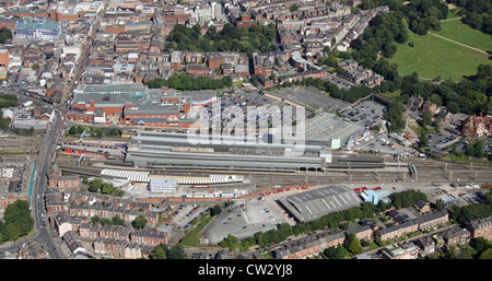 aerial view of Preston railway station in Lancashire - Stock Photo