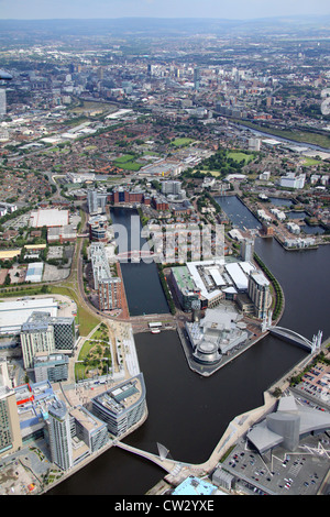 aerial view of Salford Quays, Media City and Lowry Centre, Manchester - Stock Photo