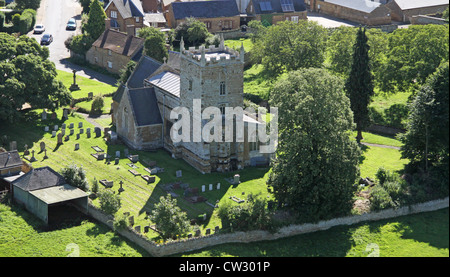 aerial view of St Peter and St Paul Church at Sywell, Northamptonshire - Stock Photo