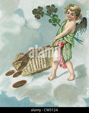 Angel carries basket with coins - Stock Photo