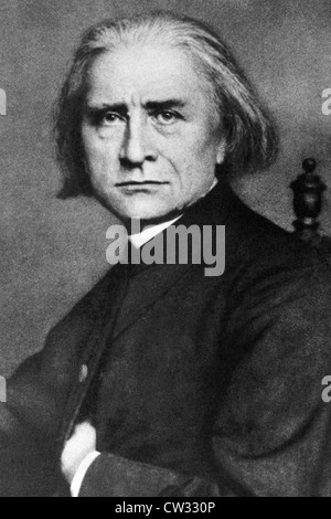Franz Liszt (1811-1886) on engraving from 1908. Hungarian composer, pianist, conductor and teacher. - Stock Photo
