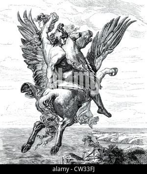 Perseus on Pegasus - Stock Photo