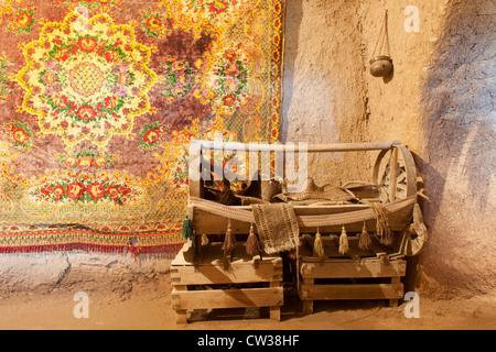 Interior of a traditional beehive adobe house, Harran, Sanliurfa province, Eastern Turkey - Stock Photo