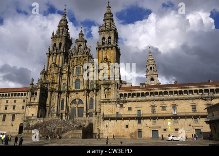 The Cathedral of St. James in Santiago de Compostela, Spain. - Stock Photo