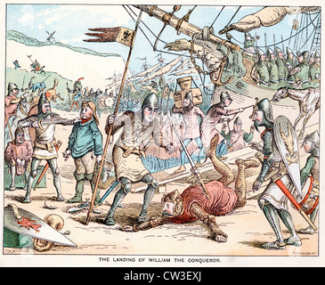 Comic Sketch by T S Seccombe showing The landing of William the Conqueror in 1066 - Stock Photo