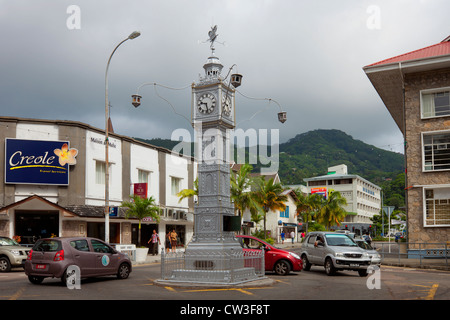 A clock tower in Victoria,Mahe,Seychelles - Stock Photo