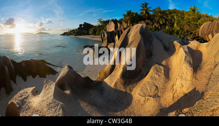 View of granite boulders and coast of La Digue island. Anse Source d' Argent beach. One of the world's most beautiful - Stock Photo