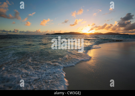 Sunrise over beach.Cousine Island.Seychelles - Stock Photo