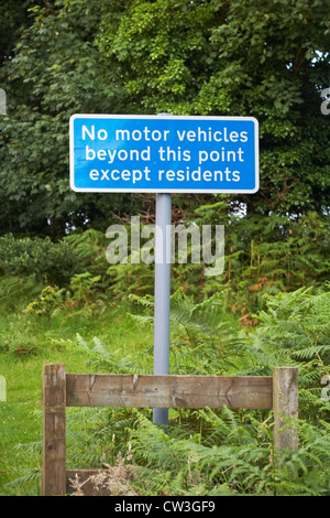 No motor vehicles beyond this point except residents sign at Arne, Dorset in July - Stock Photo