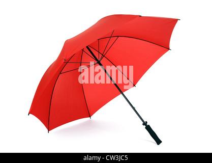 Red umbrella isolated - Stock Photo