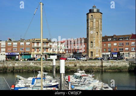 The Tour du Leughenaer / Liar's Tower in the harbour at Dunkirk / Dunkerque, Nord-Pas-de-Calais, France - Stock Photo