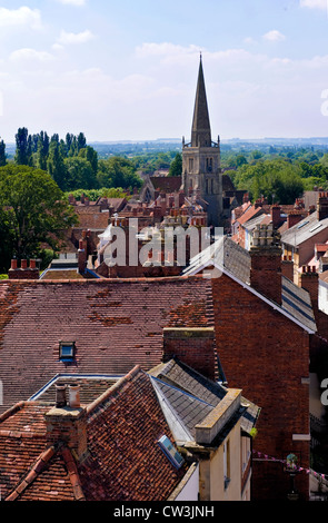 St. Helen's Street, Abingdon-on-Thames, Oxfordshire, UK from the roof of the County Hall Museum - Stock Photo