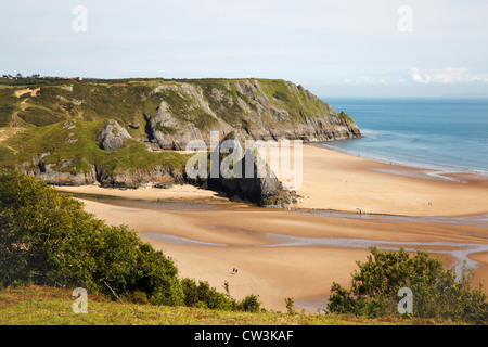 Three Cliffs Bay beach, Gower Peninsula, Wales - Stock Photo