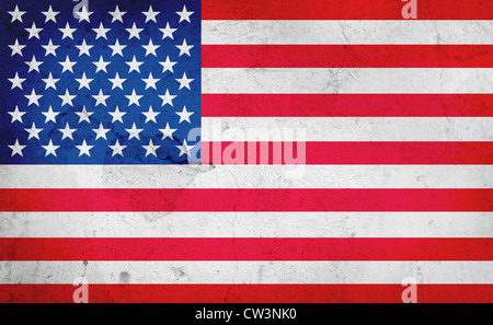American flag on a worn background - Stock Photo