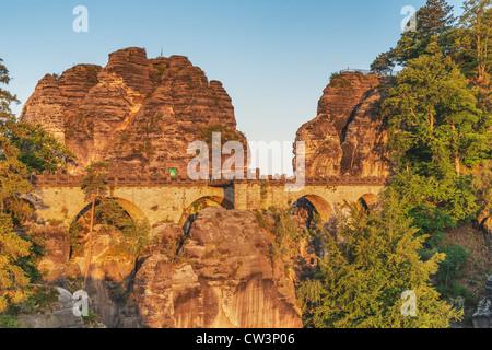 Rock formation Bastei (Bastion) and Bastion Bridge, Lohmen, Saxon Switzerland near Dresden, Saxony, Germany, Europe - Stock Photo
