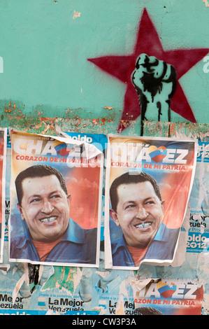 Propaganda poster for Hugo Chavez - El Tigre (Venezuela) - Stock Photo