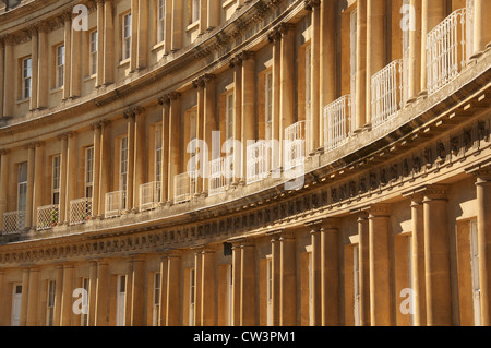 Architecture. The sweeping arc of The Circus, in the City of Bath, one of a trio of elegant Georgian terraces curving - Stock Photo