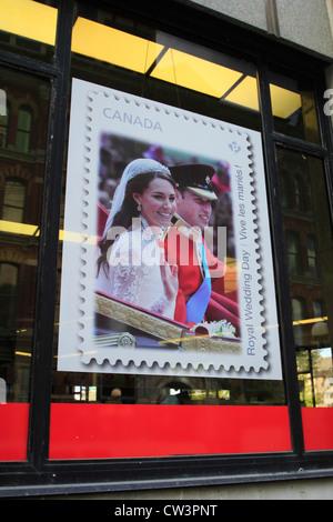 Canadian postage stamp celebrating the wedding of Prince William, Duke of Cambridge, and Catherine Middleton - Stock Photo