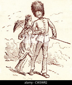 Comic Sketch by T S Seccombe showing a Guardsman out for a walk with his sweetheart - Stock Photo