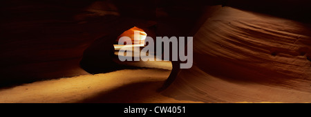 This is known as Slot Canyon. It is located in the Antelope Desert Canyon. It shows sandstone patterns on the walls. - Stock Photo