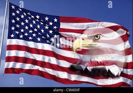 This an American flag waving in wind against blue sky.  An American bald eagle digitally composited into right side - Stock Photo