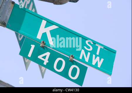 K Street NW and Vermont in Washington D.C., symbolizing lobbying and corruption in nation's capitol - Stock Photo