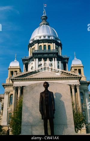 This State Capitol Building. It has statue Abraham Lincoln in front it made bronze. Illinois known as Land Lincoln. - Stock Photo