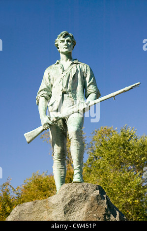 Minuteman soldier from Revolutionary War greets visitors to Historical Lexington, Massachusetts, New England